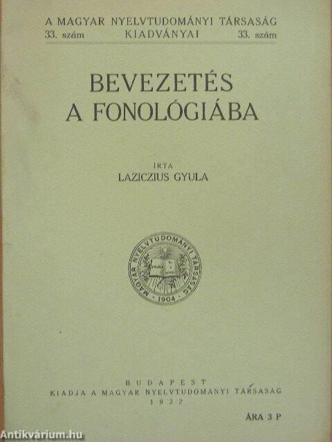 """Képtalálat a következőre: """"Laziczius Gyula Bevezetés a fonológiába"""""""