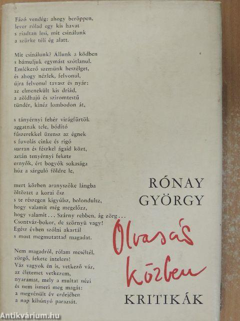 Rónay György  Olvasás közben (Magvető Könyvkiadó 5db49af324