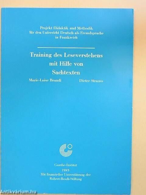 Dieter Strauss  Training des Leseverstehens mit Hilfe von Sachtexten ... 436f7c7e16