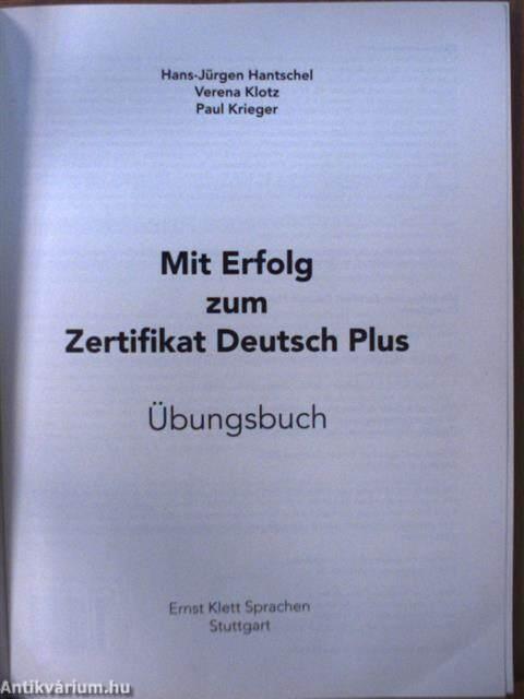 Hans Jürgen Hantschel Mit Erfolg Zum Zertifikat Deutsch Plus