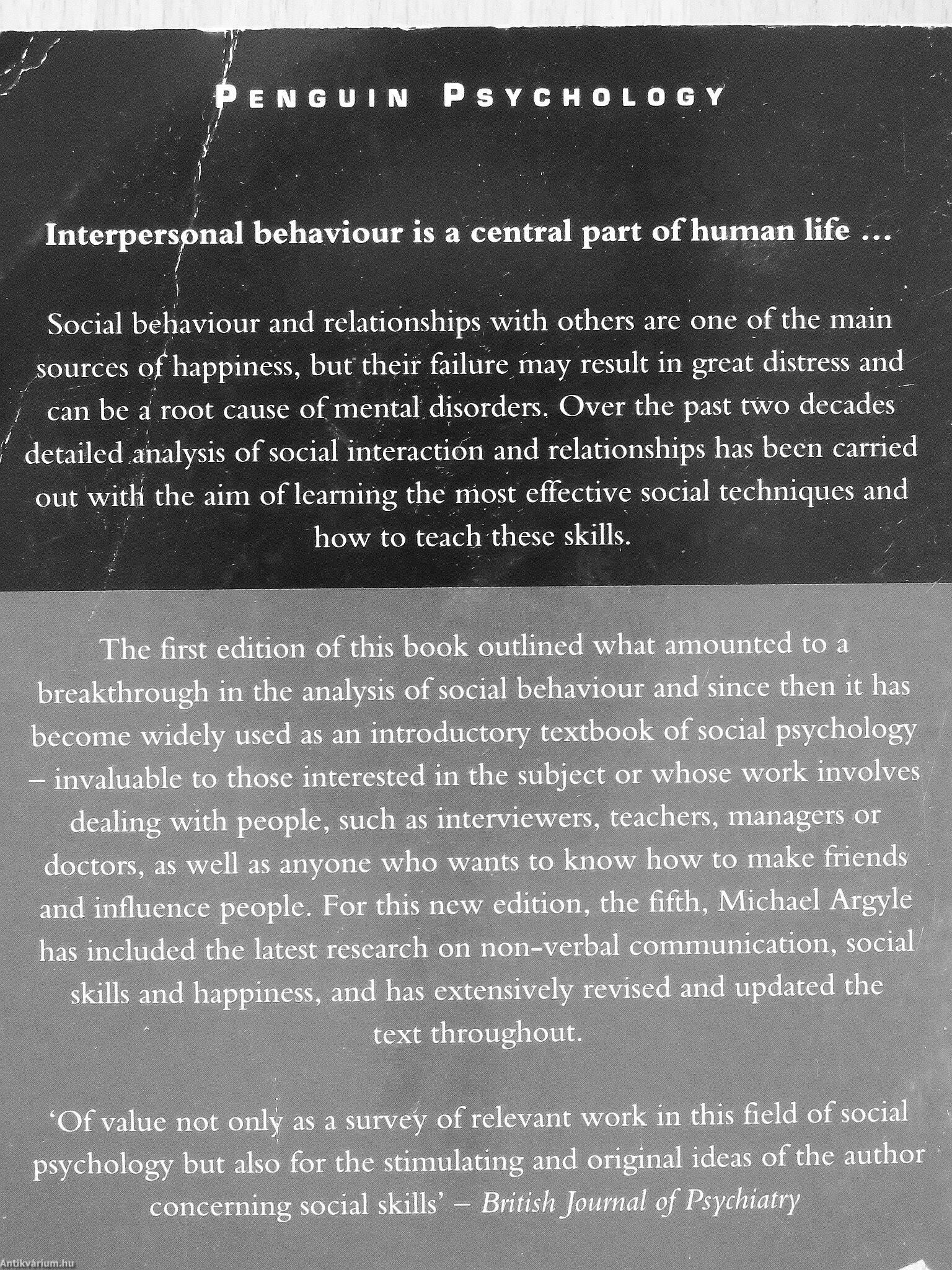 Michael Argyle: The psychology of interpersonal behaviour (Penguin