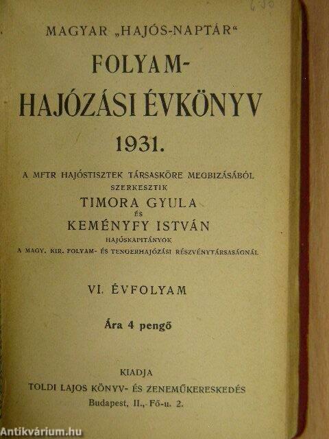 1931 naptár Venczel János: Magyar