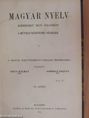 Magyar Nyelv 1911. január-december