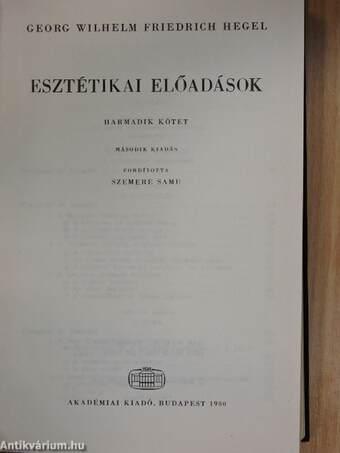 Esztétikai előadások III.