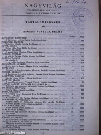 Nagyvilág 1961. (nem teljes évfolyam)