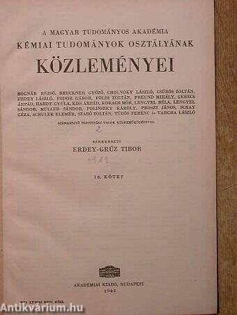 A Magyar Tudományos Akadémia Kémiai Tudományok Osztályának közleményei