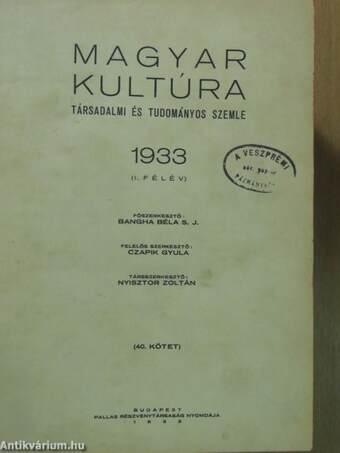 Magyar Kultúra 1933. I-II. (rossz állapotú)