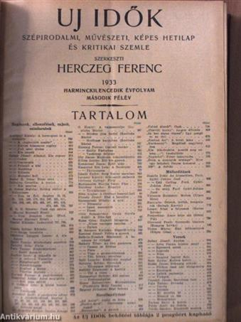 Uj Idők 1933. július-december (fél évfolyam)