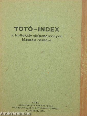 Totó-index a kollektív tippszelvényen játszók részére