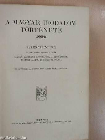 A magyar irodalom története 1900-ig
