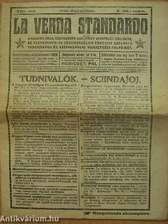 La Verda Standardo 1913. augusztus