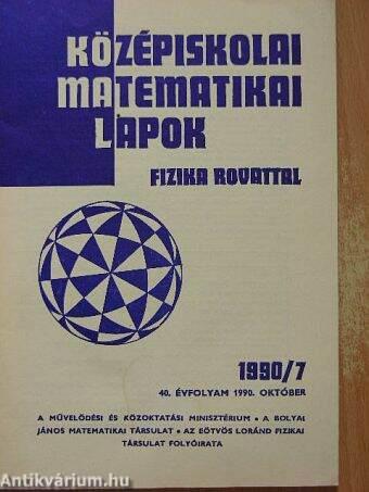 Középiskolai matematikai lapok 1990. október