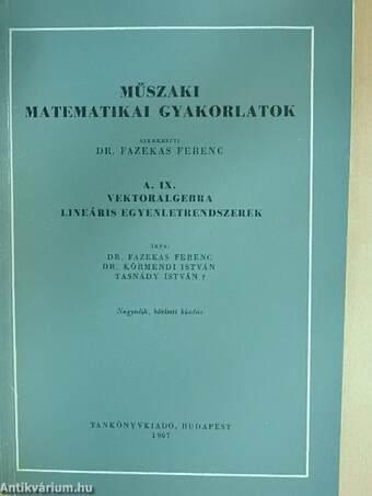 Műszaki matematikai gyakorlatok A. IX.