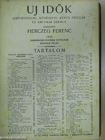Uj Idők 1933. (nem teljes évfolyam)