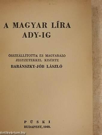 A magyar líra Ady-ig