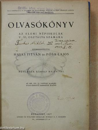 Olvasókönyv az elemi népiskolák V-VI. osztálya számára