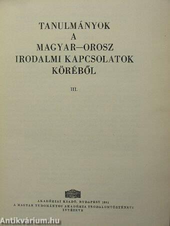 Tanulmányok a magyar-orosz irodalmi kapcsolatok köréből III.