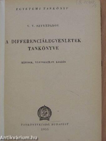 A differenciálegyenletek tankönyve