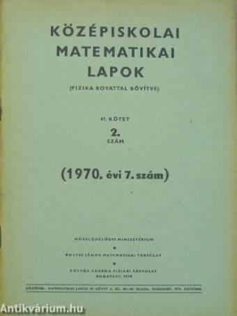 Középiskolai matematikai lapok 1970/7.