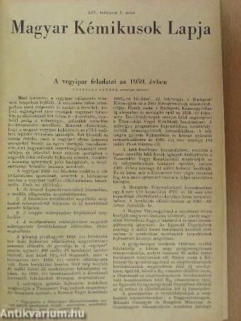 Magyar Kémikusok Lapja 1959. január-december