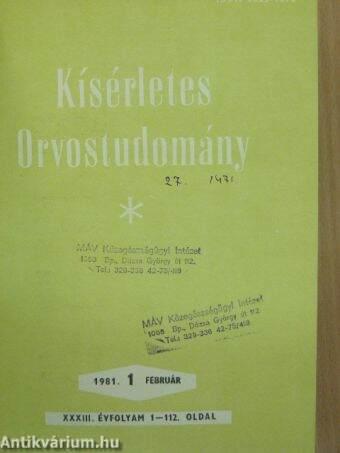 Kísérletes Orvostudomány 1981. január-december