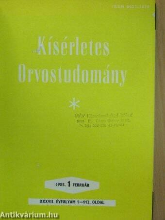 Kísérletes Orvostudomány 1985. január-december